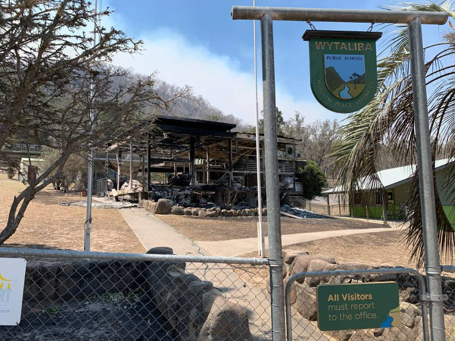 The Wytaliba school was badly damaged in Friday's deadly blaze, with one building totally wrecked.