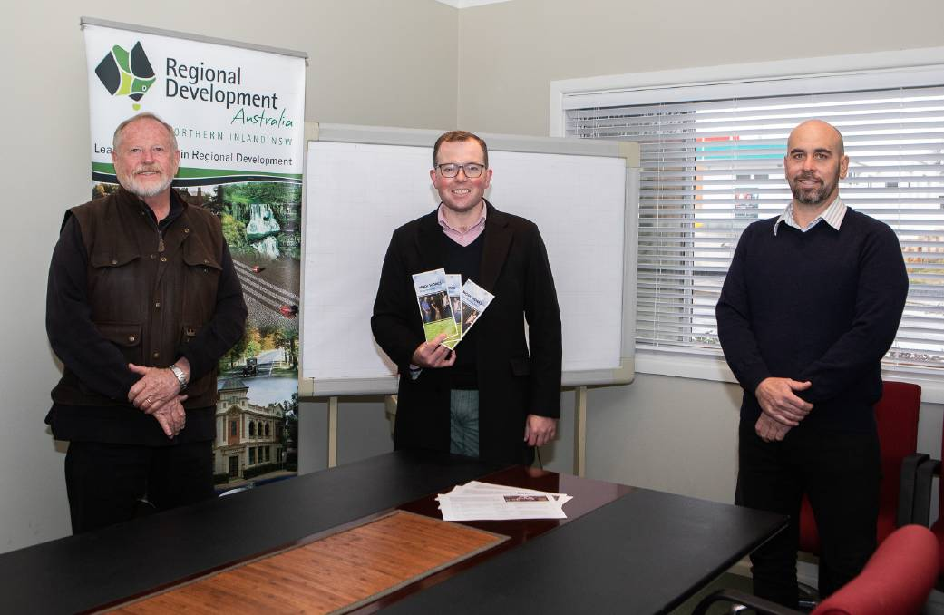 (From left) Russell Stewart, MP Adam Marshall and Nathan Axelsson celebrate the news of a $60,000 shearing school grant.