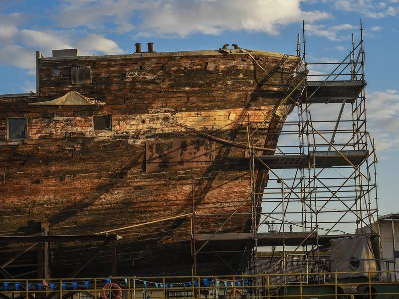 The City of Adelaide clipper ship has been moved to a new berth in the city's Outer Harbour.